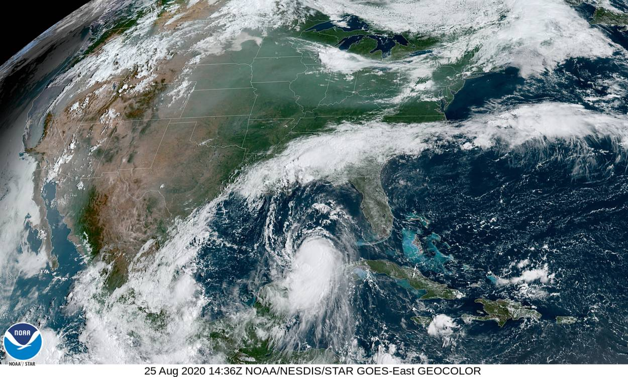 Satellite image of Hurricane Laura strengthening over the Gulf of Mexico, courtesy of NOAA.