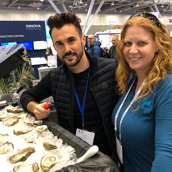 Raz Halili, vice president of Prestige Oyster's Inc., and Laura Picariello, fisheries specialist at Texas Sea Grant