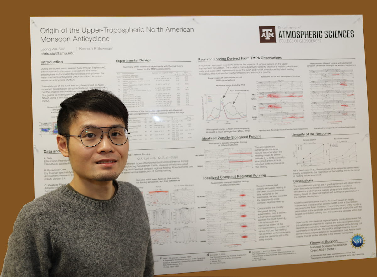 Chris Siu stands in front of his poster.