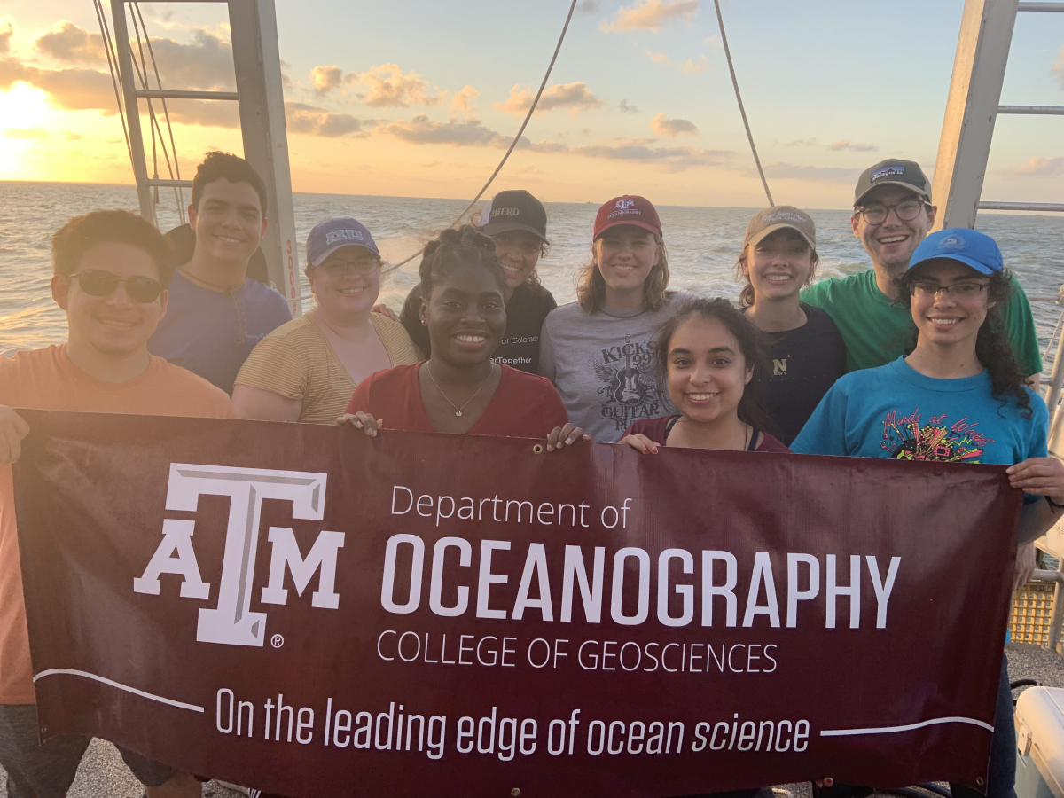 The 2019 cohort of Observing the Ocean REU students aboard R/V Pelican. (Photo courtesy of Dr. Lisa Campbell.)