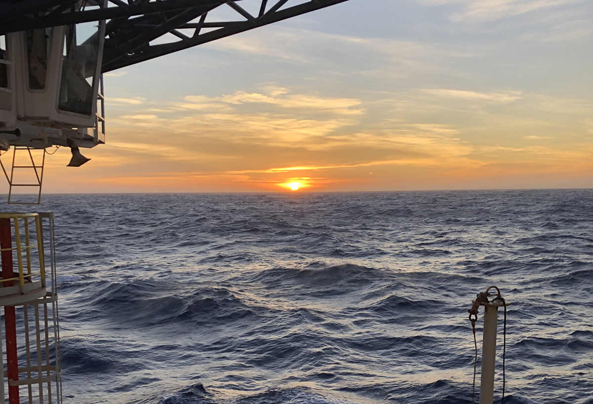 Sunset over the Pacific Ocean during transit aboard the JOIDES Resolution. (Photo by Dr. Ulla Roehl.)