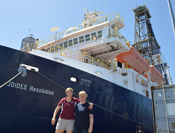 IODP Expedition 378 Co-Chief Scientists Dr. Debbie Thomas and Dr. Ursula Röhl, at the beginning of the expedition. (Photo courtesy of Dr. Debbie Thomas.)