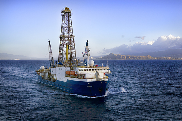 The JOIDES Resolution off the coast of Hawaii. (Photo by courtesy of IODP.)