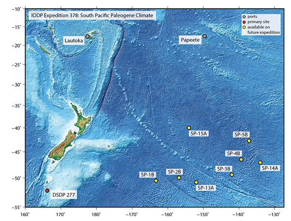 IODP Expedition 378: South Pacific Paleogene Climate. (Image courtesy of IODP.)