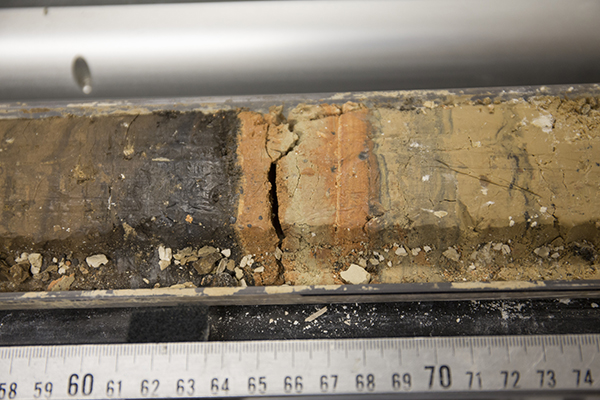 A close-up look at a halved sediment core. (Image courtesy of IODP.)
