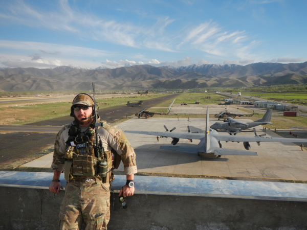 Lance Belobrajdic in the Hindu Kush Mountains, in Afghanistan, in 2013. (Photo courtesy of the U.S. Air Force.)