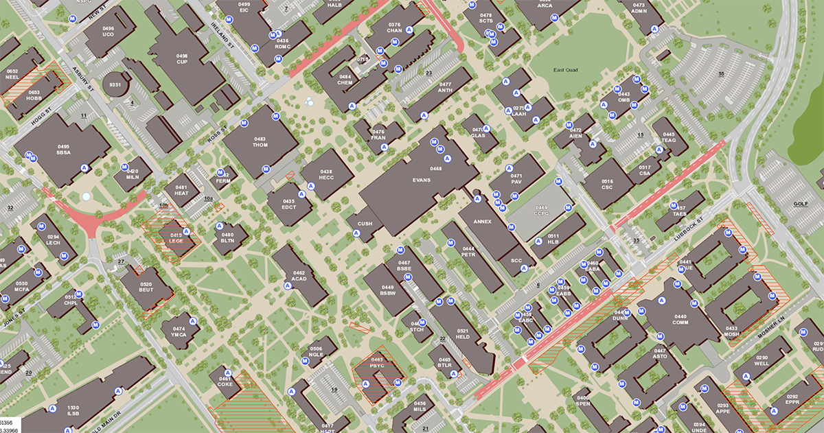 A screenshot of the Aggie Map, with the accessible entrances layer visible.