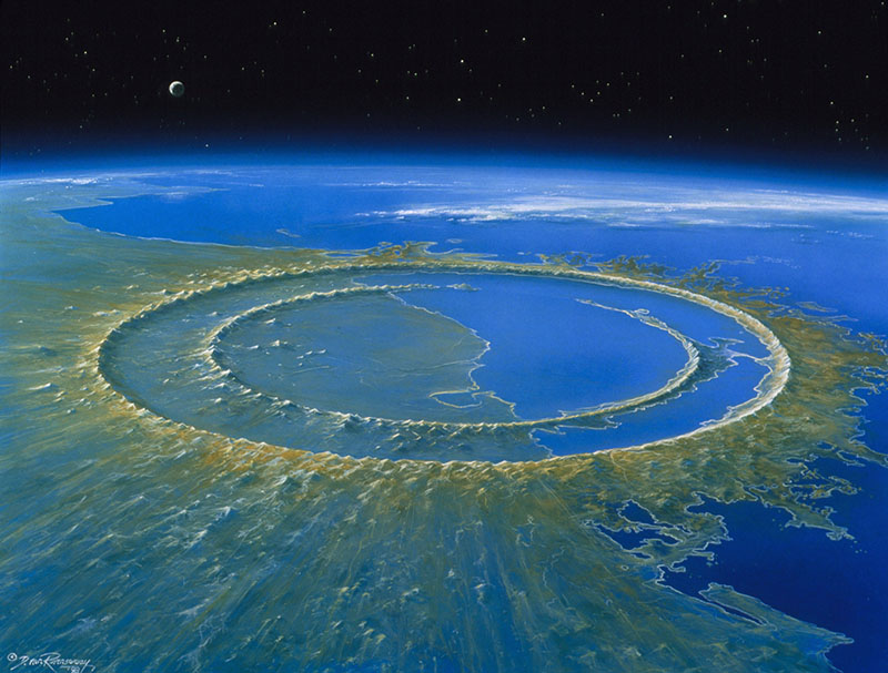 Artist recreation of Chicxulub Crater with peak rings