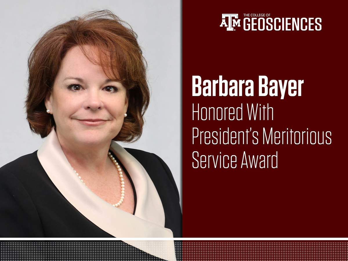 Barbara Bayer, assistant dean for finance and administration in the College of Geosciences, was honored with a 2018 President's Meritorious Service Award. (Photo by Chris Mouchyn.)