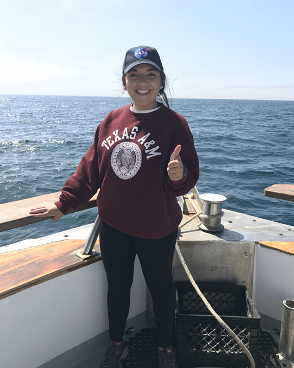 Castillo collecting data in the Santa Barbara Channel, California. (Photo courtesy of Ariana Castillo.)