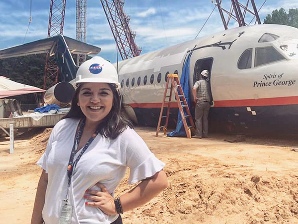 As a NASA Langley intern in 2019, Castillo toured the dropsite where a plane had been dropped from over 100 feet in the air for testing. (Photo courtesy of Ariana Castillo.)