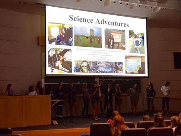 As a SARP intern in 2018, Castillo taught 8th-grade girls at a STEM camp about the importance of women in STEM. (Photo courtesy of Ariana Castillo.)
