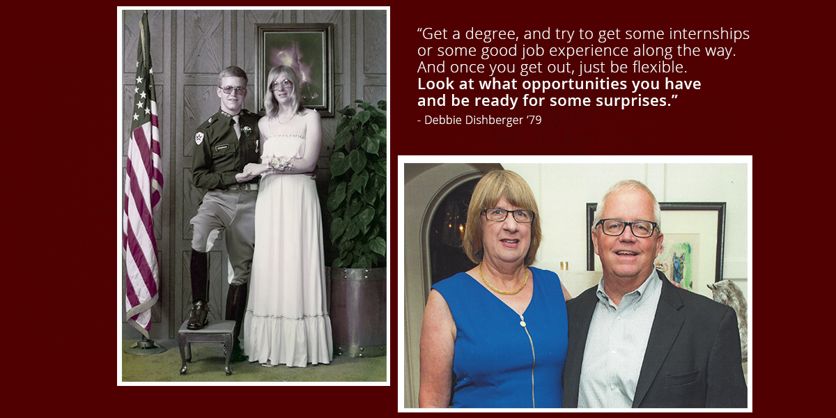 "Left: Mike and Debbie Dishberger, then Debbie McLean, at Boot Dance at Texas A&M in 1978. Right: Debbie and Mike Dishberger in 2019. Debbie's advice to Aggies: ""Get a degree, and try to get some internships or some good job experience along the way. And once you get out, just be flexible. Look at what opportunities you have, and be ready for some surprises."" (Photos courtesy of the Dishbergers.)"