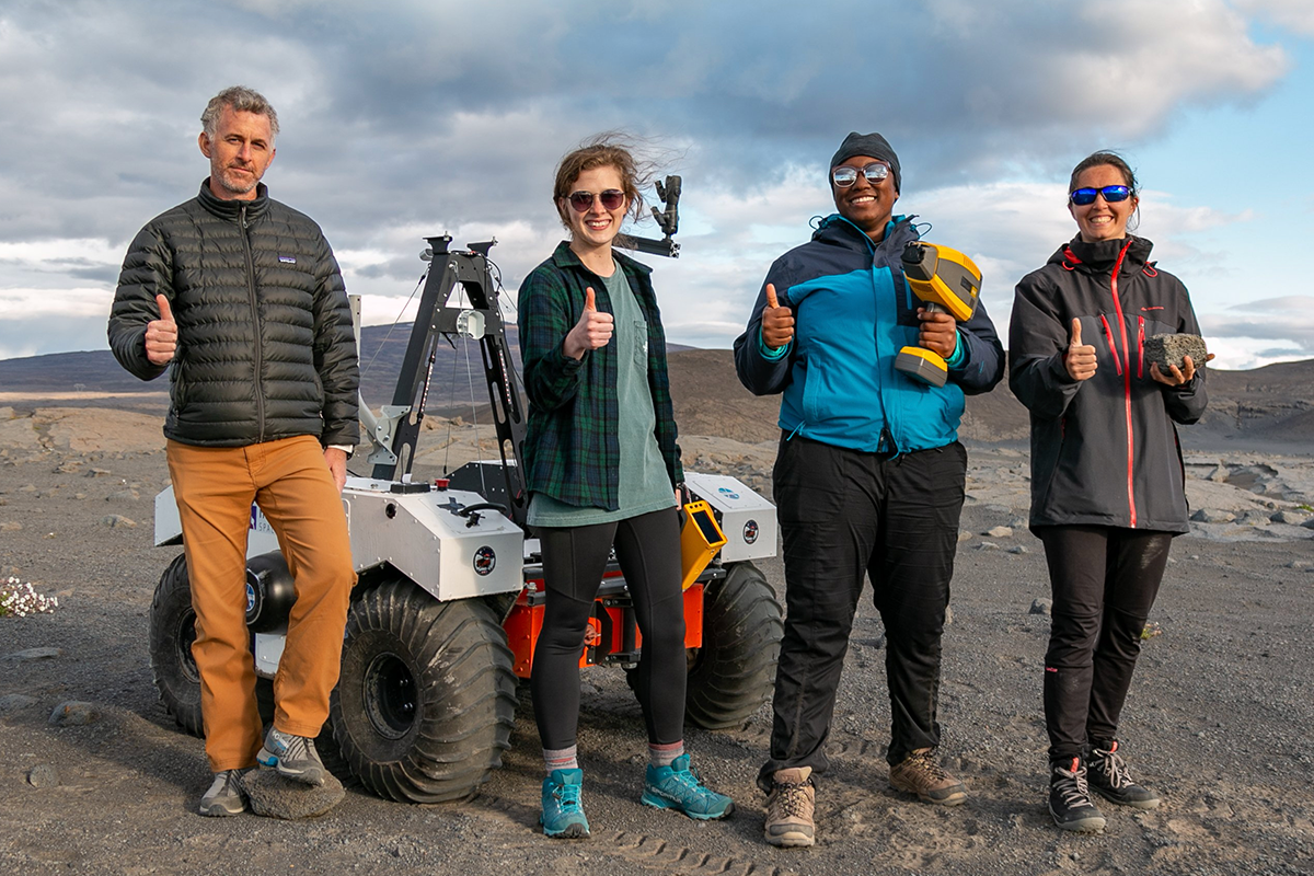 Texas A&M Geology and Geophysics researchers in Iceland: Dr. Ryan Ewing, professor; Emily Champion, undergraduate student; Kashauna Mason, doctoral student; and Dr. Marion Nachon, postdoctoral associate. (Photo by Nick Wilson, Texas A&M Marketing and Communications.)