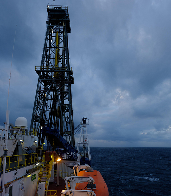 The JOIDES Resolution drill ship. (Credit: Patrick Fulton / IODP)