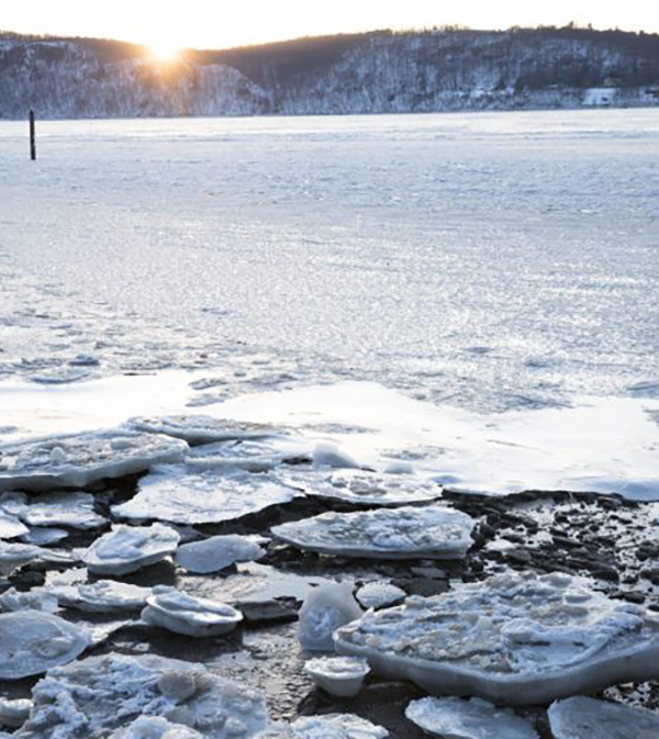 A view of the frozen Hudson River on Jan. 5, 2018 in Dobbs Ferry, New York. (Getty images.)