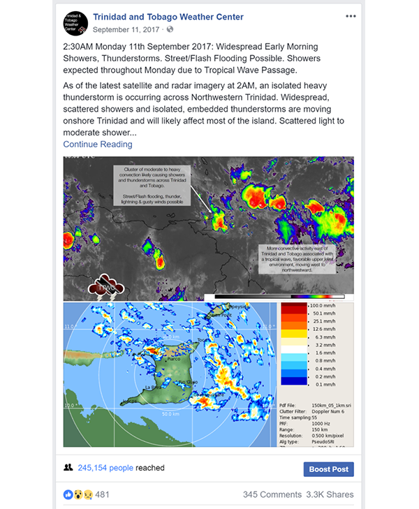 Hosein's Trinidad and Tobago Weather Center Facebook page helped inform people on the islands of impending weather.