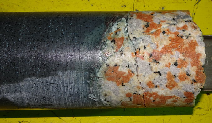 Core samples recovered from the Chicxulub crater showing that the peak rings were made of granite