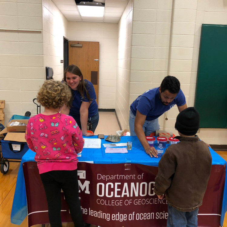Victoria Scriven and fellow oceanography student at a TAMU Ocean outreach event with the Franklin ISD School Science Fair. (Photo Courtesy of Victoria Scriven)