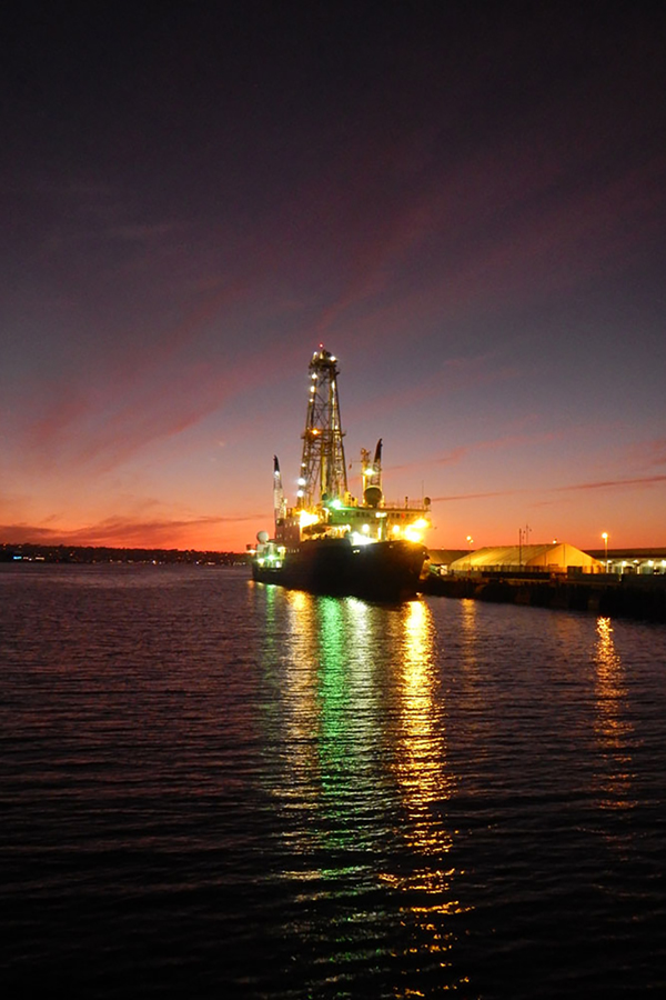 The JOIDES Resolution at sunset at the dock in San Diego. (Photo by: Tobias Höfig, IODP JRSO/)