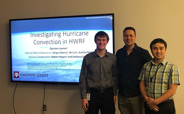 Lawton, with Dr. Bin Liu and Dr. Sergio Garcia, after giving a presentation on the HWRF Hurricane Model. (Photo Courtesy of Quinton Lawton)