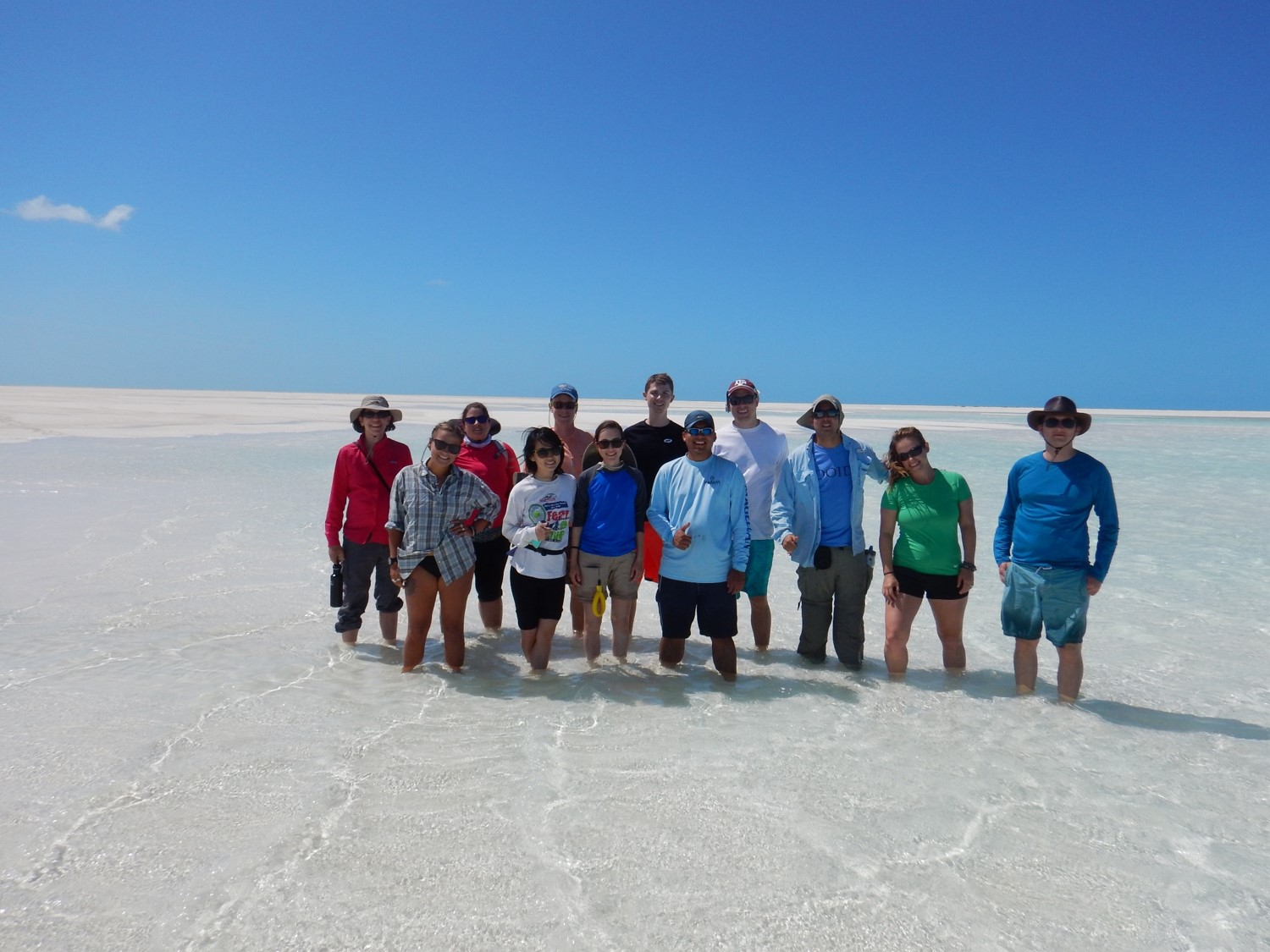 Above: Juan Carlos Laya and his students at Joulter's Cay ooid carbonate shoal in the Bahamas as part of the modern carbonate field trip during spring 2016. (Photo by Juan Carlos Laya)