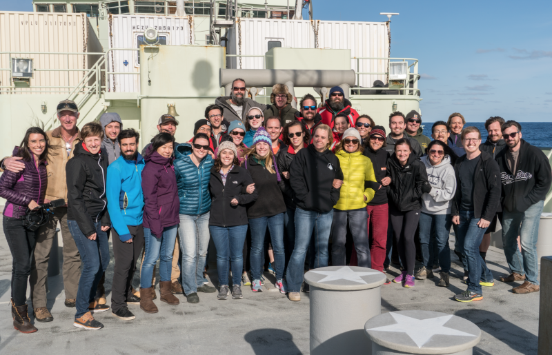 The researchers aboard on R/V Atlantis. (Photo courtesy of Lee Harrington.)