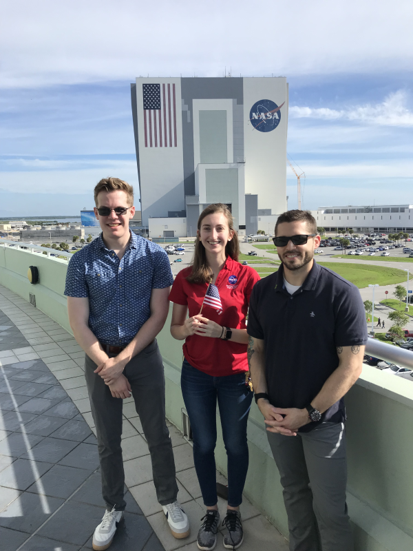 NASA Pathway Interns at the Kennedy Space Center: Stephen Grabowski from Purdue University, McKynzie Perry from University of Alabama at Huntsville, and Lance Belobrajdic (from left to right). (Photo courtesy of Stephen McConnell, NASA.)