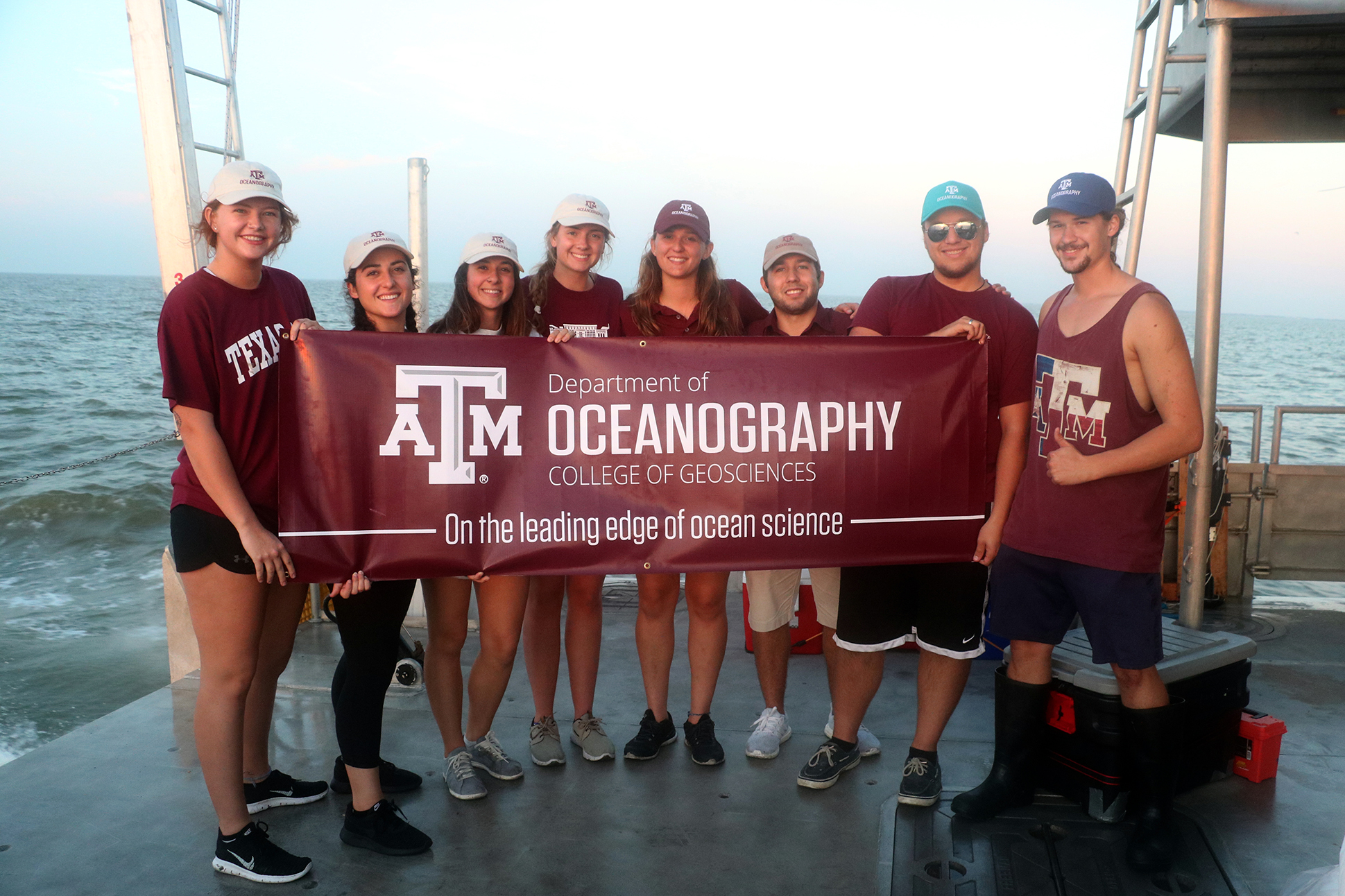 Undergraduate students aboard the RV Trident on Nov. 4.