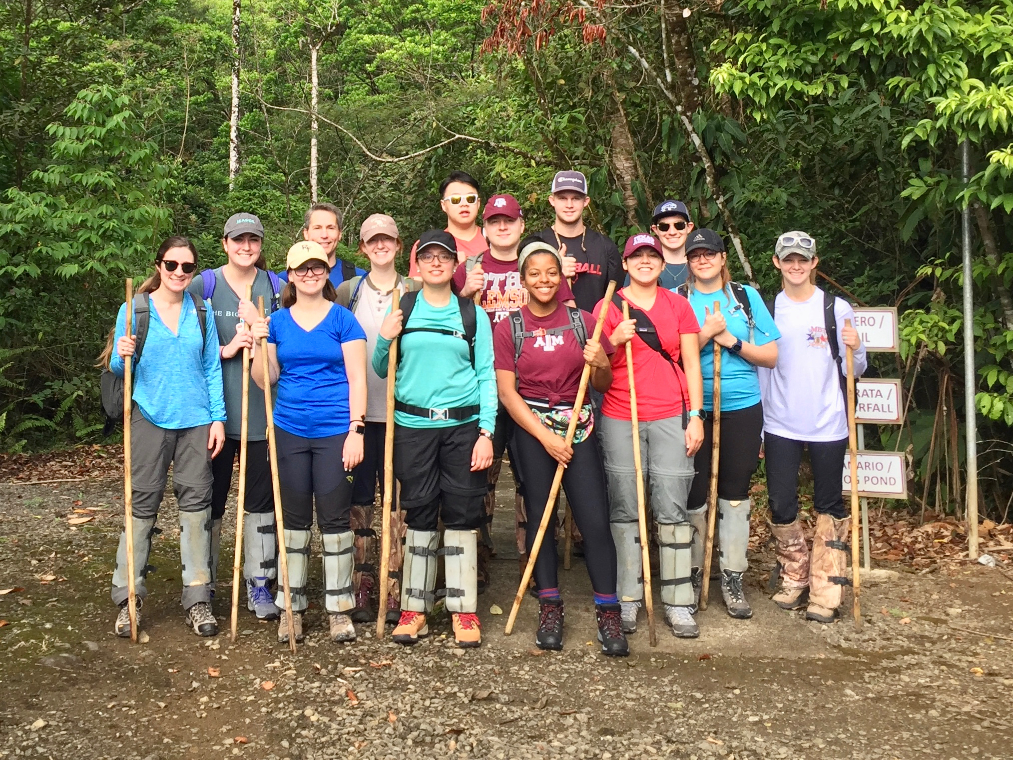 Dr. Frauenfeld and Kourtney Lewis with their GEOS 405 students on a hike to a nearby waterfall.