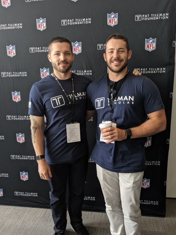 Lance Belobrajdic (2018 Awardee) and Blaze Belobrajdic (2019 Awardee), who is Belobrajdic's brother and currently a Texas A&M Engineering student, at the Pat Tillman Leadership Summit. (Photo courtesy of the Pat Tillman Foundation.)