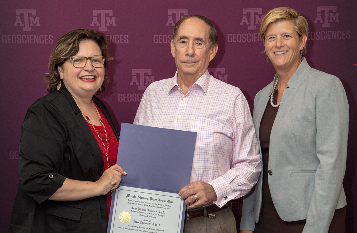 Texas A&M Associate Dean of Faculties Dr. Heather Wilkinson, Geology and Geophysics Professor Dr. Rick Giardino, and Dean of the College of Geosciences Dr. Debbie Thomas. (Photo by Chris Mouchyn, Texas A&M Geosciences.)