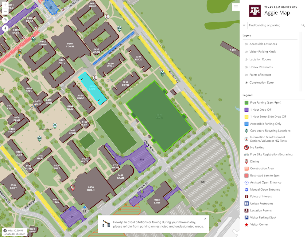 Move-in Day Parking map on Aggie Map.