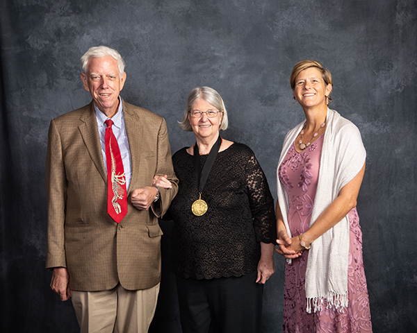 Dr. Inda Immega '71 was honored with the Michel T. Halbouty Geosciences Medal; pictured with her husband Dr. Neal Immega (left), and Dr. Debbie Thomas.