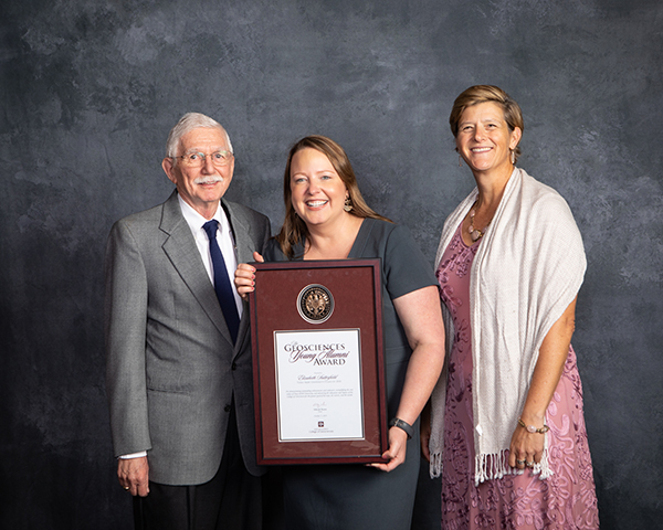 Dr. Elizabeth Satterfield received the 2019 Geosciences Young Alumni Award; pictured with Dr. Jerry North, and Dr. Debbie Thomas.