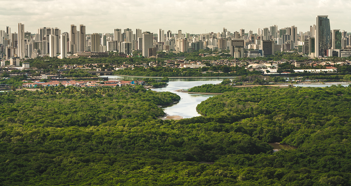 An aerial view of Recife, Pernambuco, Brazil. (Photo by iStock.)