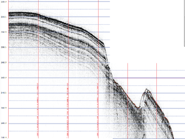 Higher-resolution images of the upper few tens of meters of the seabed were obtained using a chirp subbottom profiler, which relies upon higher frequency sound pulses than those made by the air-guns. Layers are clearly shown by black lines on this subbottom profile image, which represents a cross section of the seabed. (Photo courtesy of Niall Slowey.)