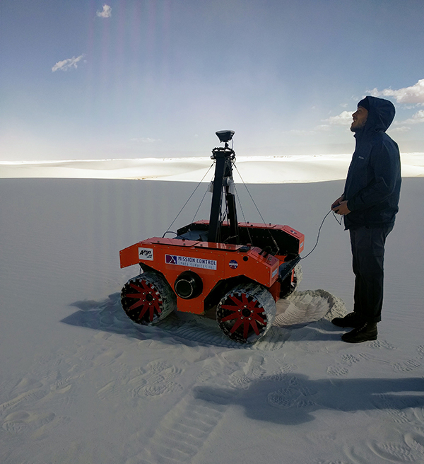 This rover will be used by the research team in Iceland. It is pictured here at White Sands National Monument, New Mexico. (Photo by Ryan Ewing.)