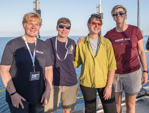 Ursula Röhl, Co-Chief Scientist; Lisa Crowder, Laboratory Officer; Laurel Childress, Expedition Project Manager/Staff Scientist; and Debbie Thomas, Co-Chief Scientist, aboard the JOIDES Resolution. (Photo by Tim Fulton, IODP JRSO)