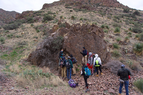 Students participate in mapping basement lithologies in the Franklin Mountains.