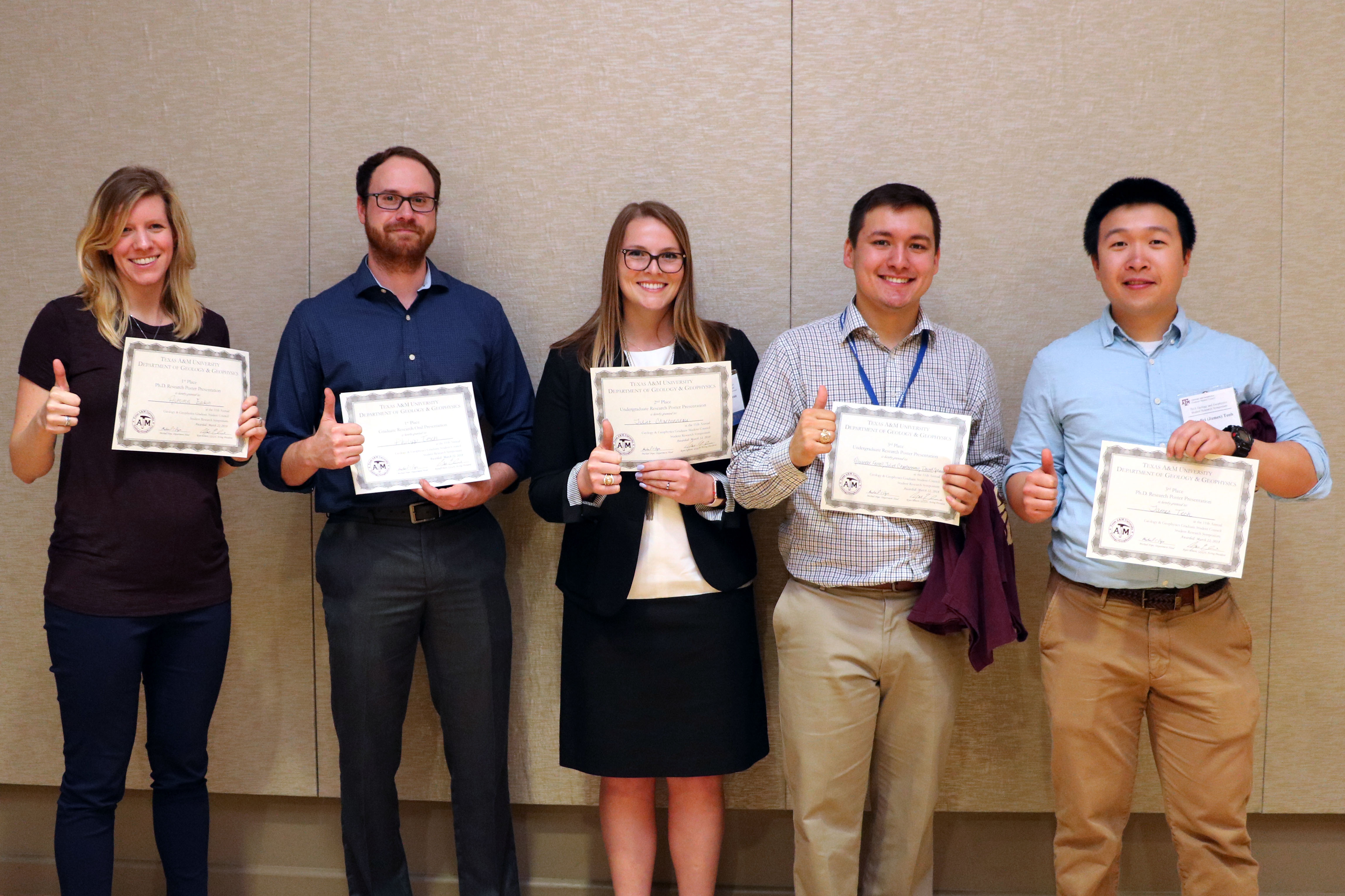 2018 Symposium Student Winners (left to right): Autumn Eakin, Philipp Tesch, Juliet Charbonneau, Alexander Ferell, and James Teoh. (Photo Credit: Cristina Figueroa)