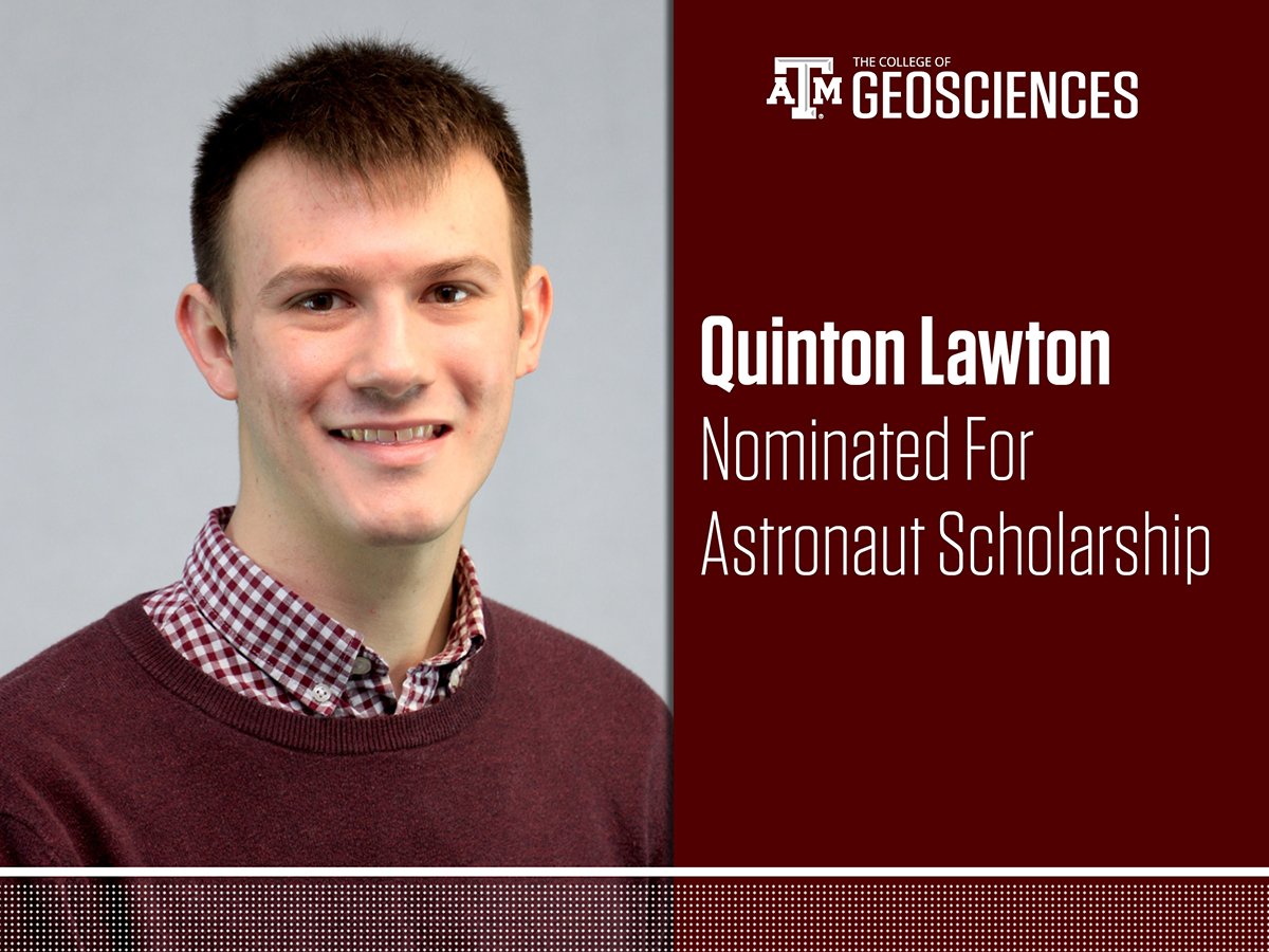 Quinton Lawton '19, a meteorology major in the Texas A&M Department of Atmospheric Sciences.