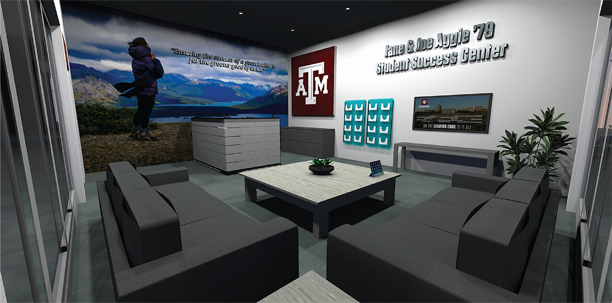 A rendering of the proposed student success center in the O&M Building. Identification of space for a student success center in the Halbouty Building is pending. (Image by Chris Mouchyn, Texas A&M Geosciences.)