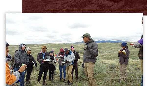Dr. Brent Miller leading Field Camp in Montana in May 2019. (Photo by Robyn Blackmon.)